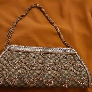 Green embellished stone studded purse